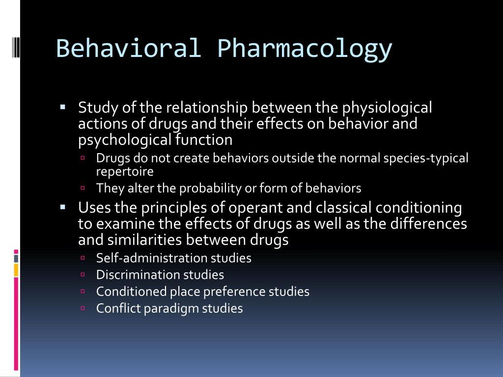 Behavioral Pharmacology