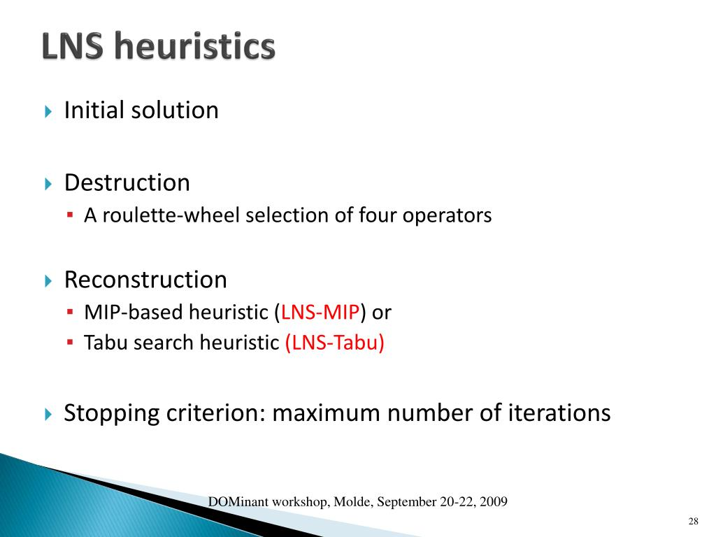 LNS heuristics
