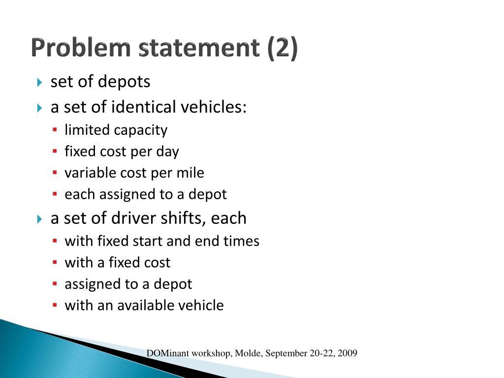 Problem statement (2)