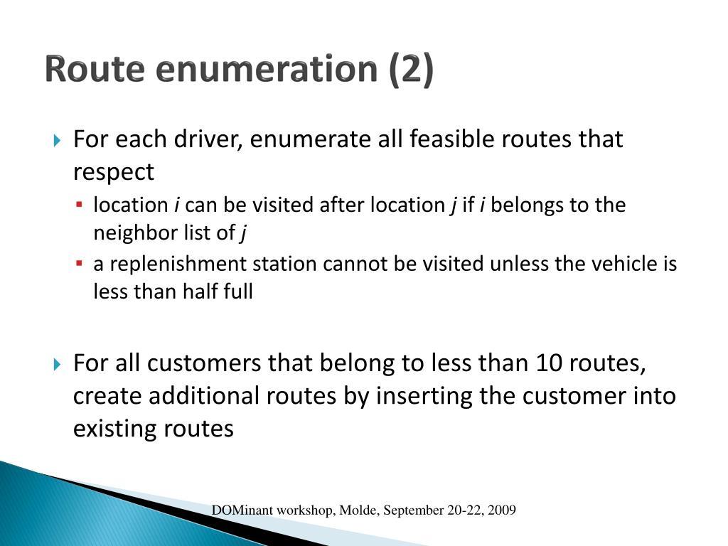 Route enumeration (2)
