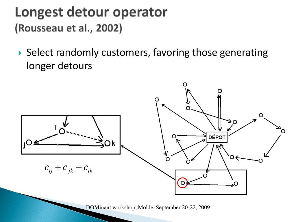 Select randomly customers, favoring those generating longer detours