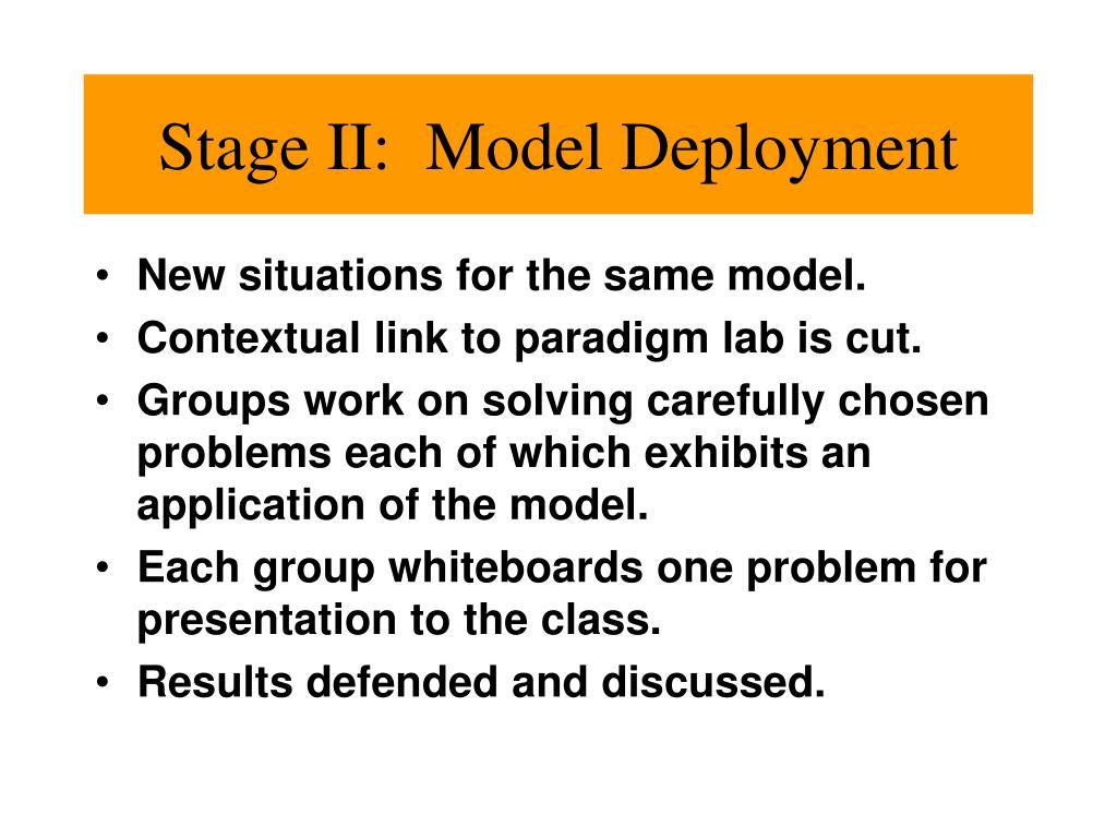 Stage II:  Model Deployment