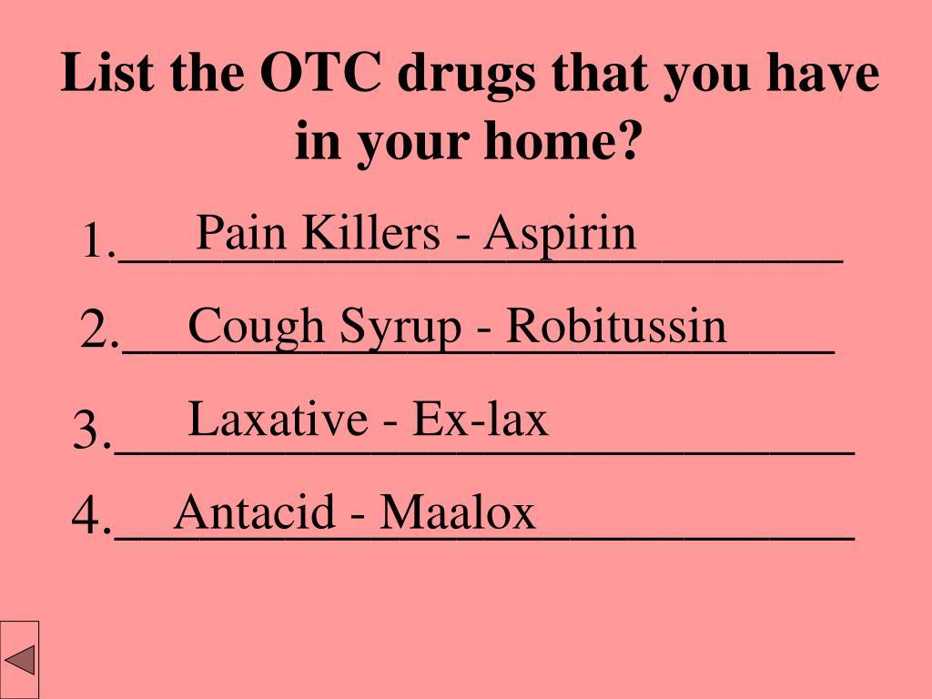 List the OTC drugs that you have in your home?
