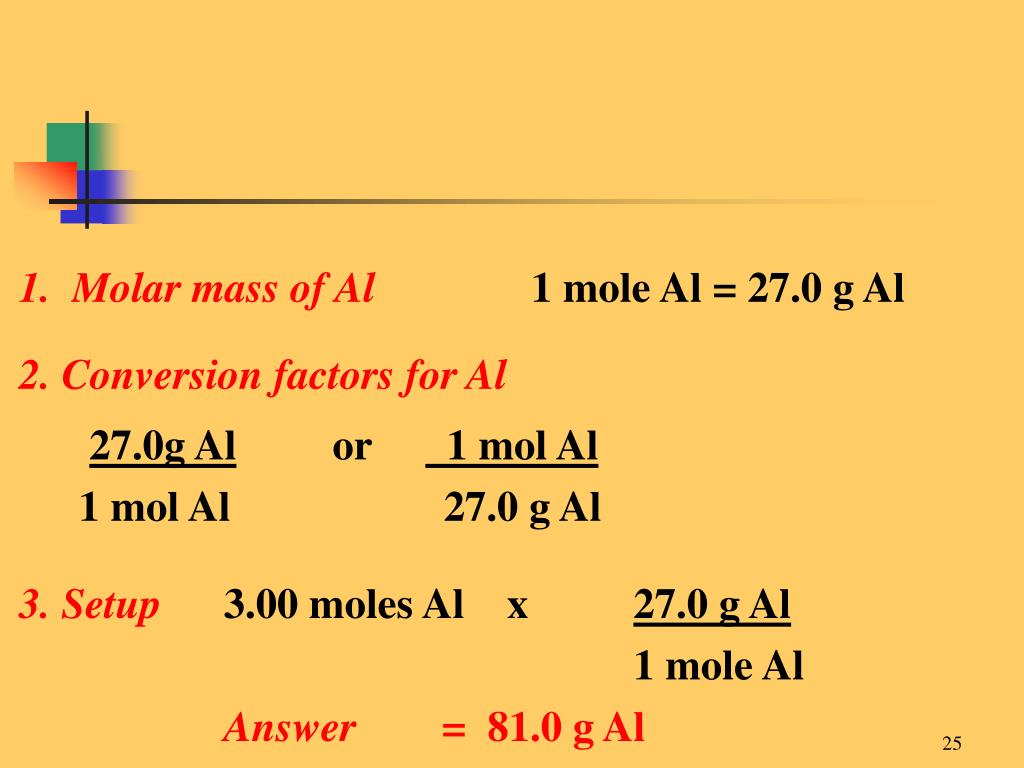 1.  Molar mass of Al