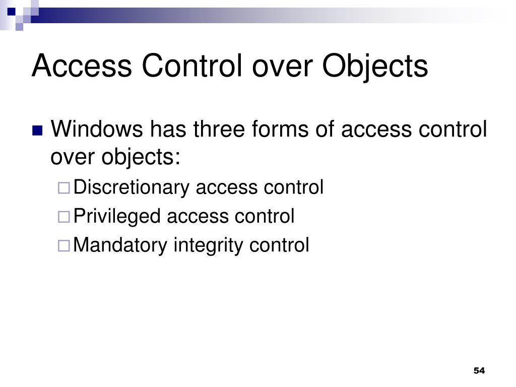 Access Control over Objects