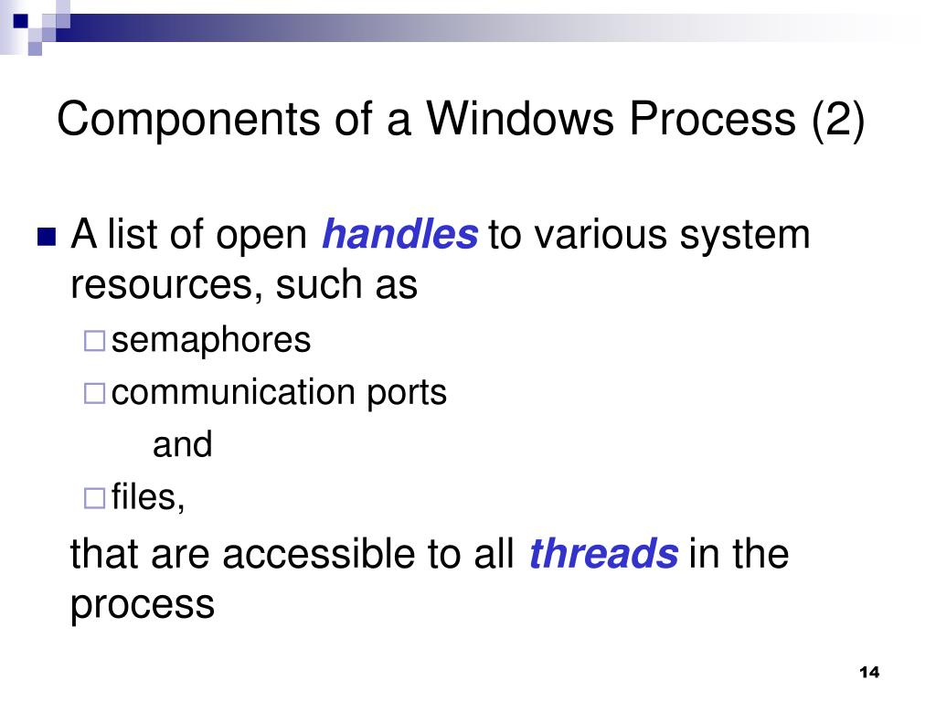 Components of a Windows Process (2)