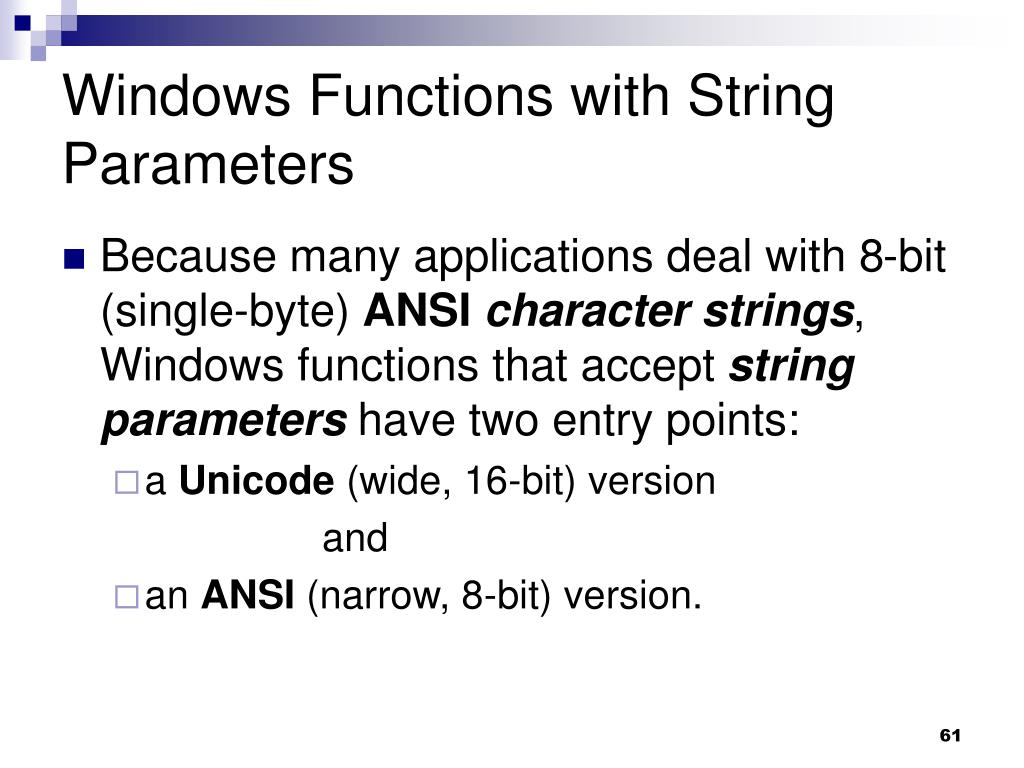 Windows Functions with String Parameters