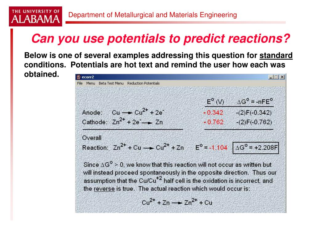 Can you use potentials to predict reactions?