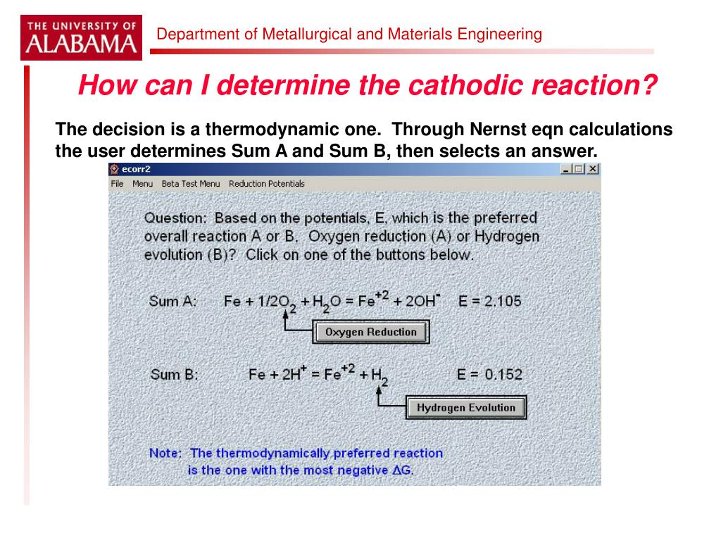 How can I determine the cathodic reaction?