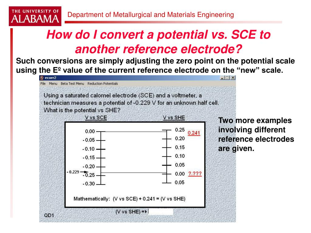 How do I convert a potential vs. SCE to another reference electrode?