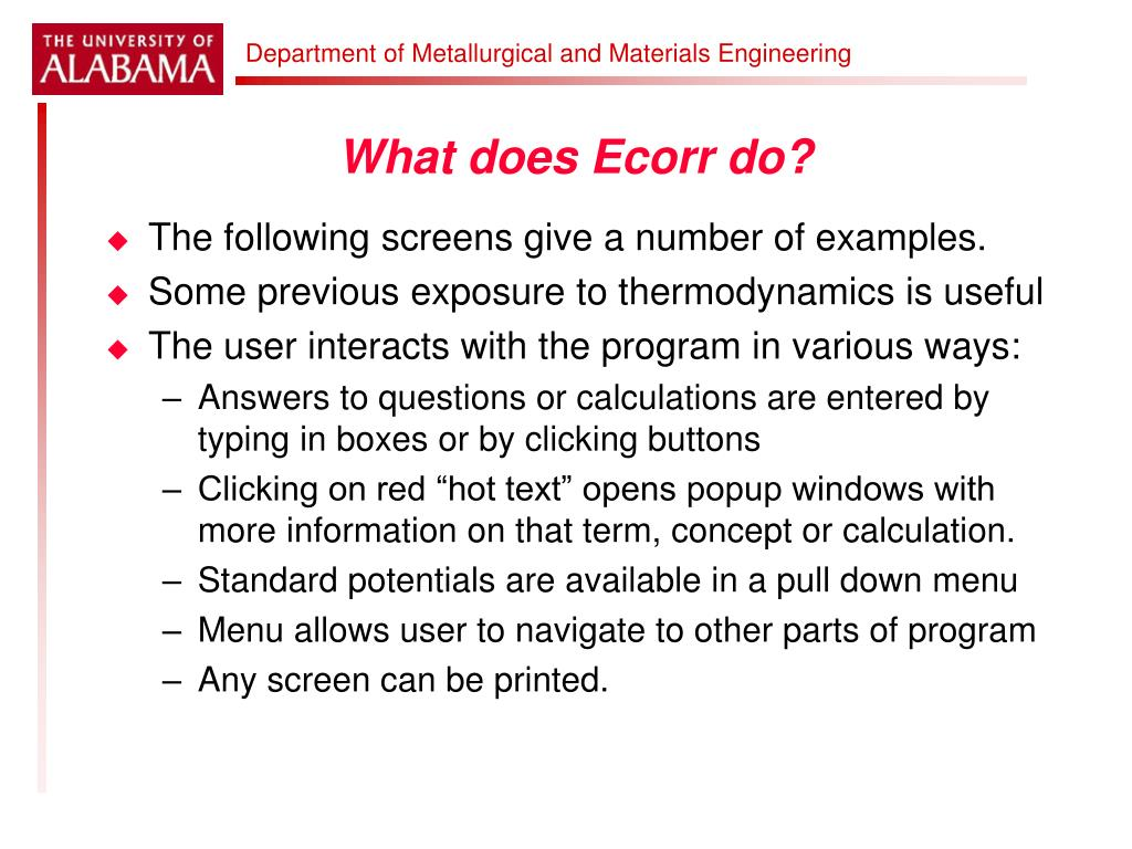 What does Ecorr do?