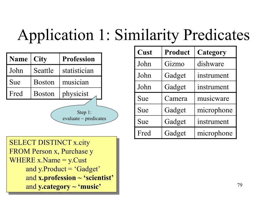 Application 1: Similarity Predicates