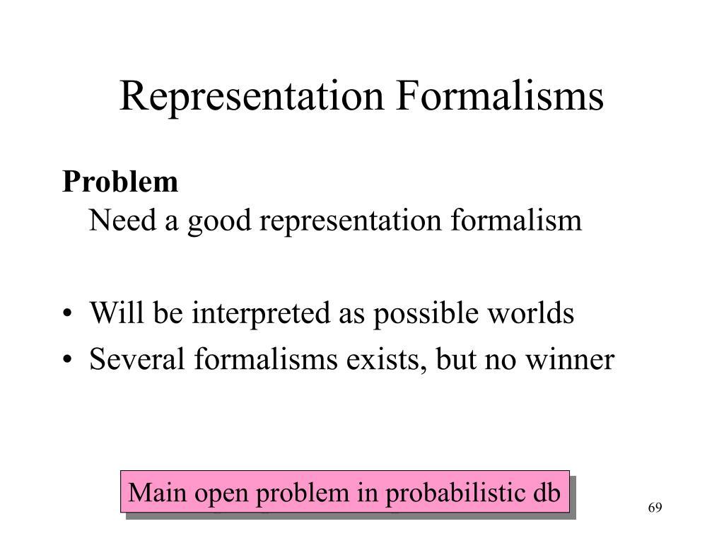 Representation Formalisms