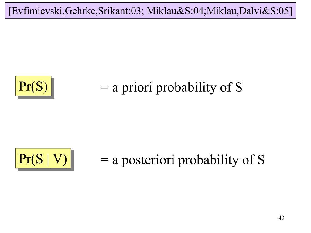 [Evfimievski,Gehrke,Srikant:03; Miklau&S:04;Miklau,Dalvi&S:05]