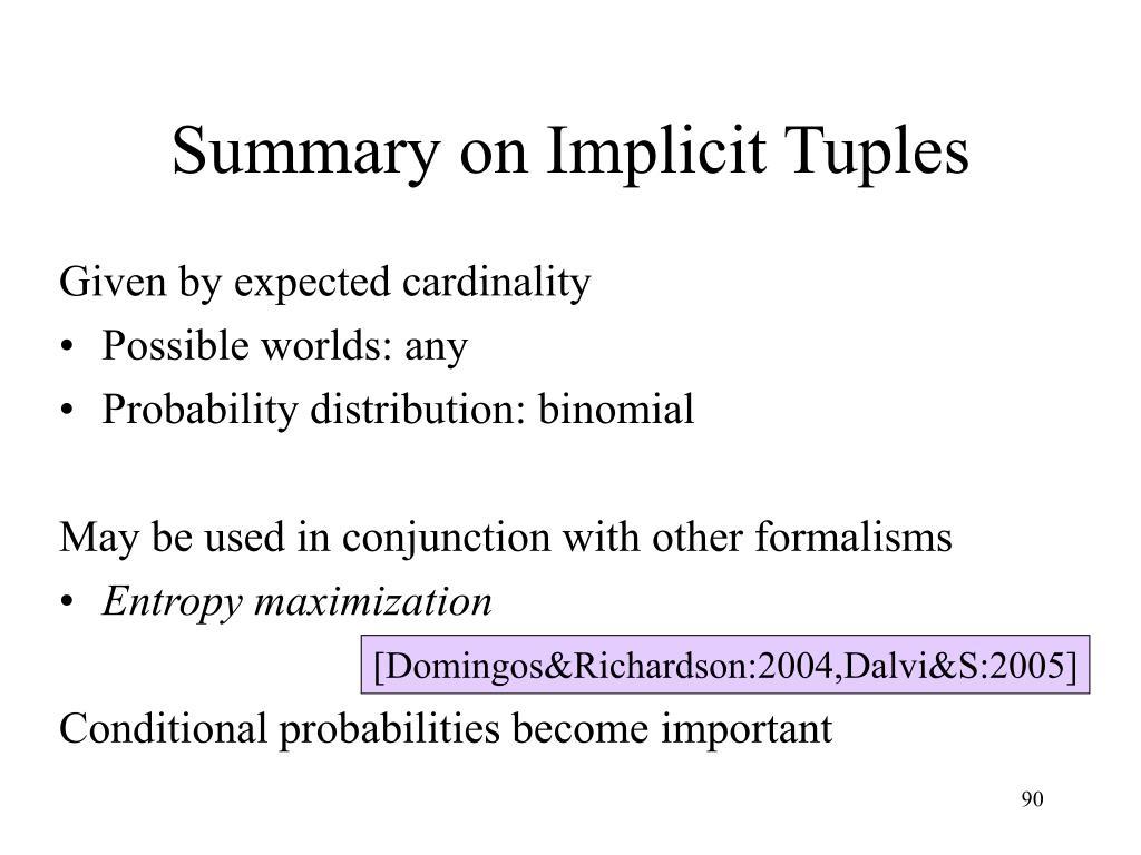 Summary on Implicit Tuples