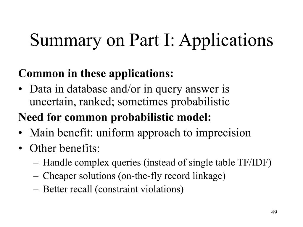 Summary on Part I: Applications