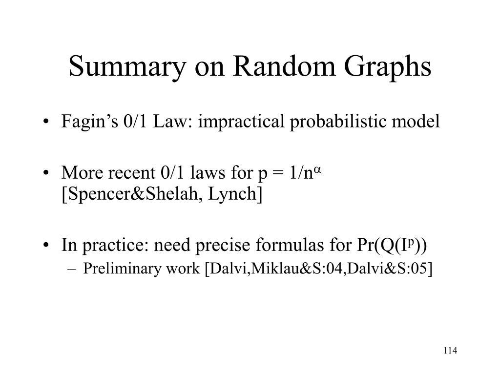 Summary on Random Graphs
