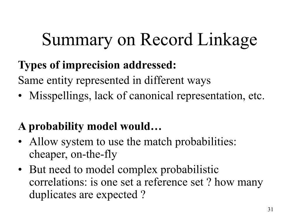 Summary on Record Linkage