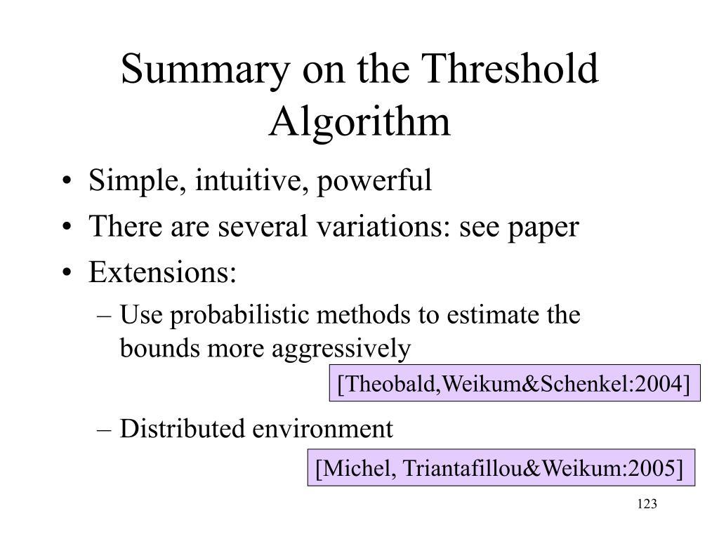 Summary on the Threshold Algorithm