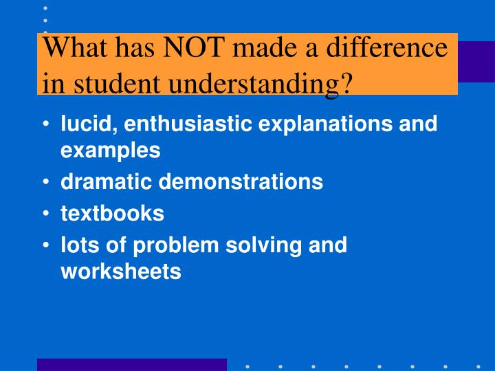 What has not made a difference in student understanding