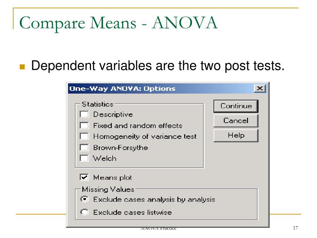 Compare Means - ANOVA