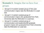 scenario 1 imagine that we have four groups