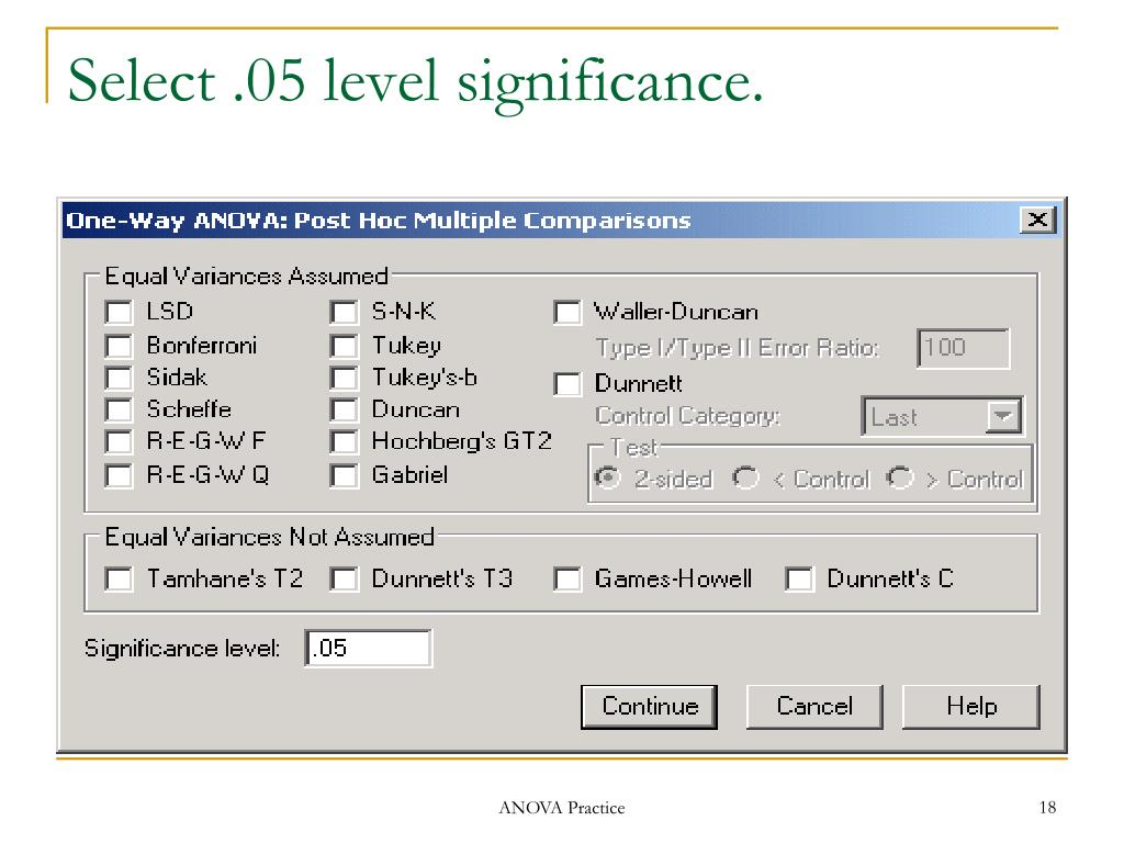 Select .05 level significance.
