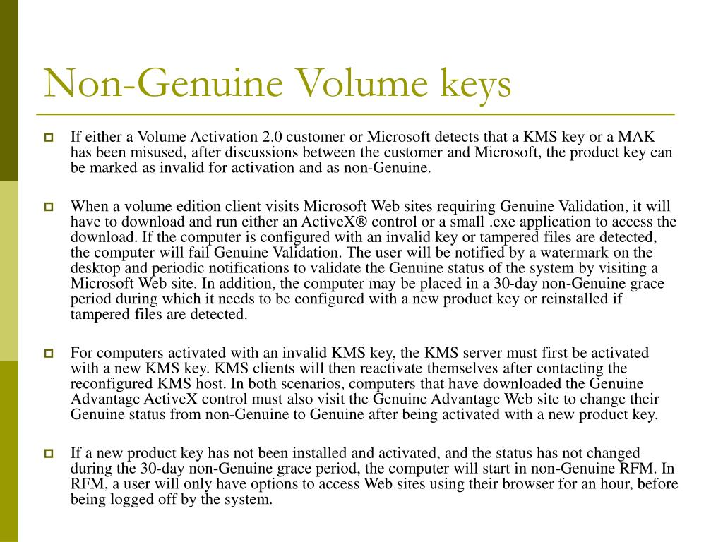 Non-Genuine Volume keys