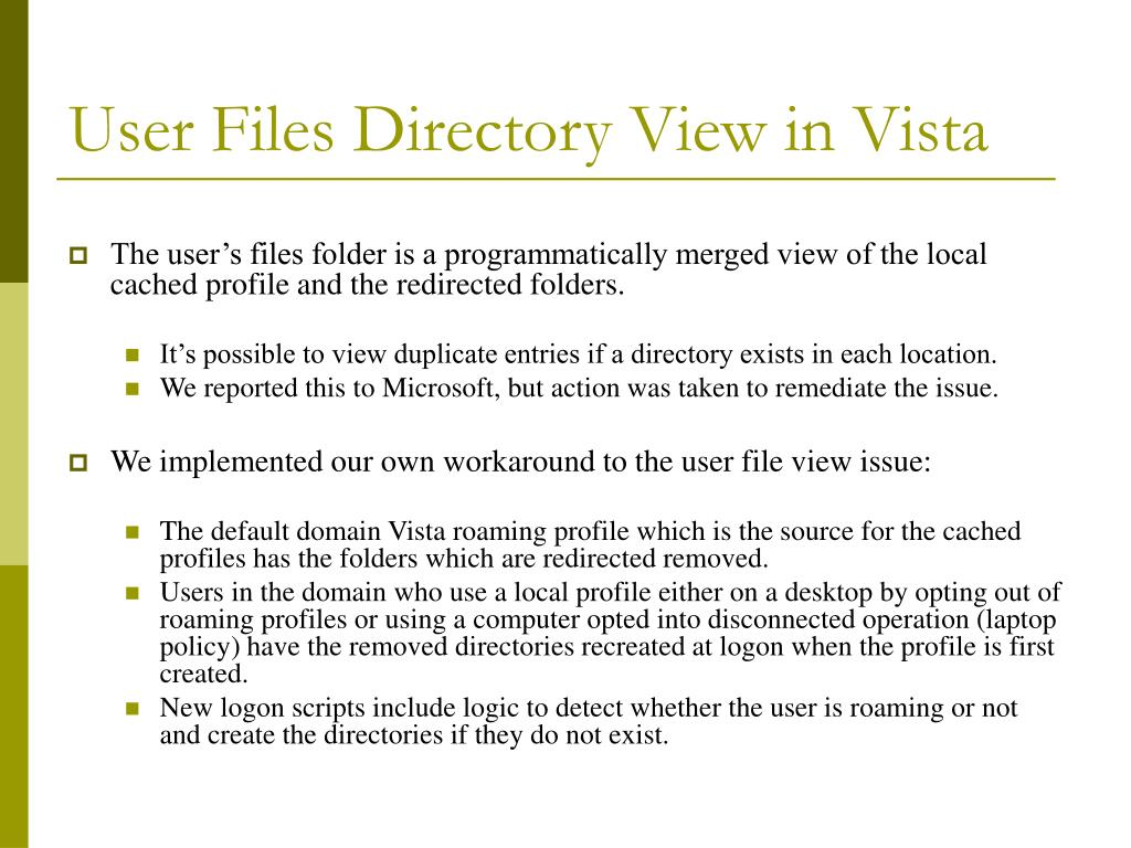 User Files Directory View in Vista