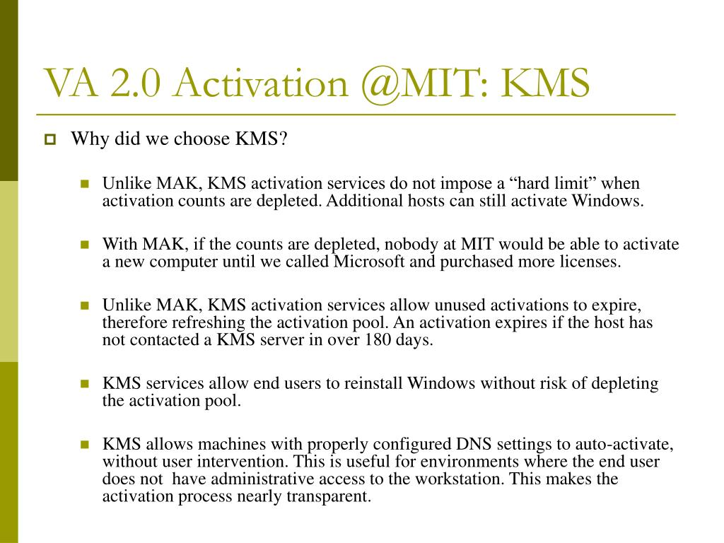 VA 2.0 Activation @MIT: KMS