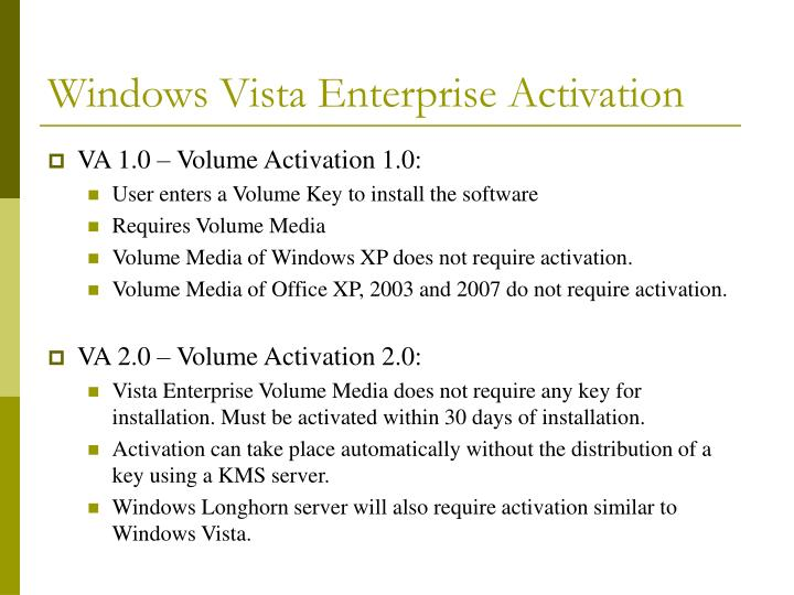 Windows vista enterprise activation