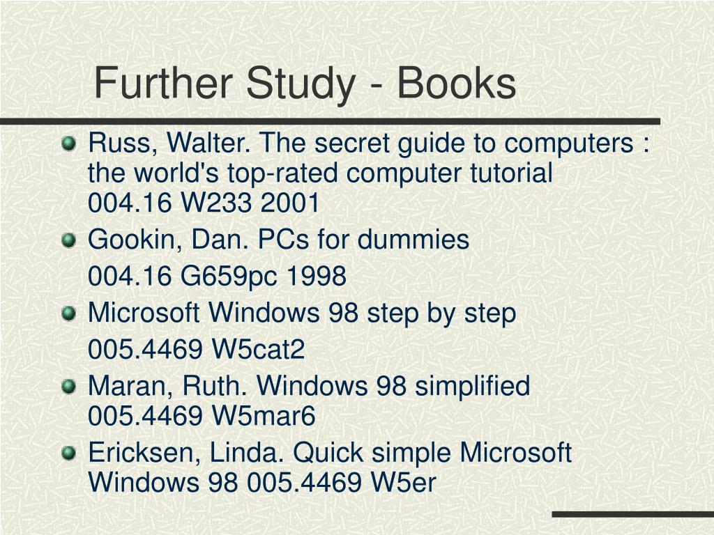 Further Study - Books