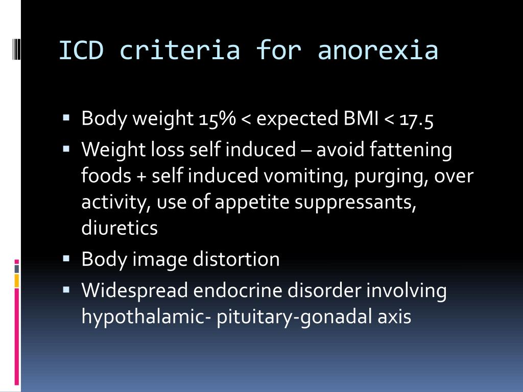 ICD criteria for anorexia