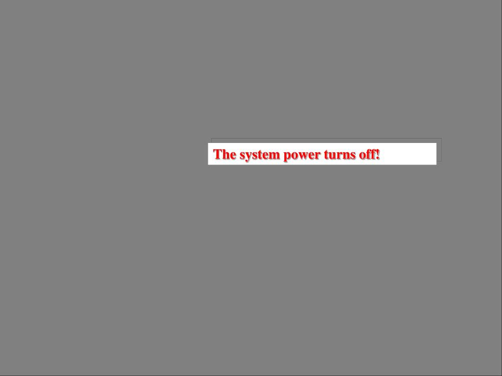 The system power turns off!