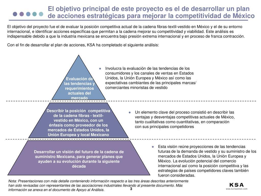 El objetivo principal de este proyecto es el de desarrollar un plan de acciones estratégicas para mejorar la competitividad de México