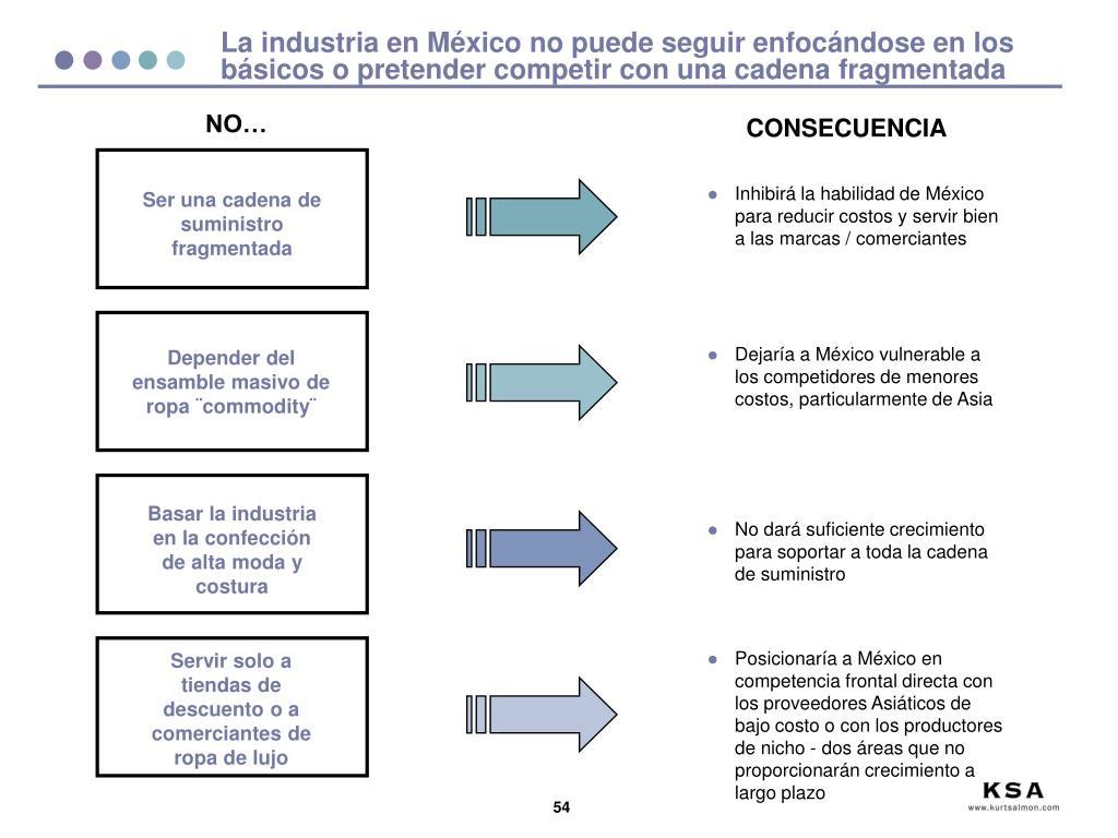 La industria en México no puede seguir enfocándose en los básicos o pretender competir con una cadena fragmentada
