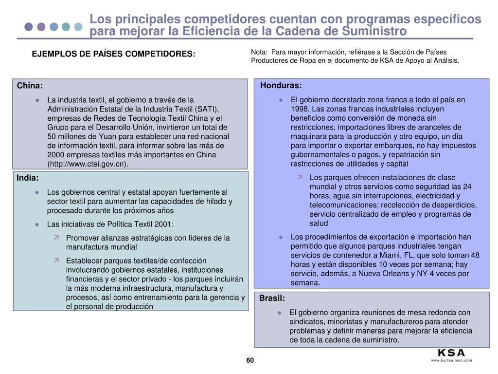Los principales competidores cuentan con programas específicos para mejorar la Eficiencia de la Cadena de Suministro