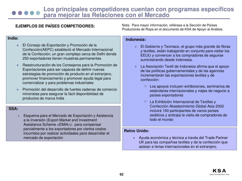 Los principales competidores cuentan con programas específicos para mejorar las Relaciones con el Mercado