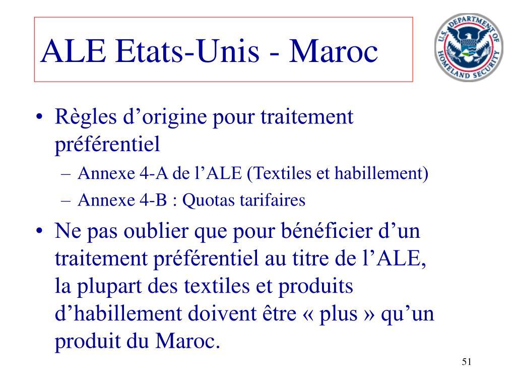 ALE Etats-Unis - Maroc