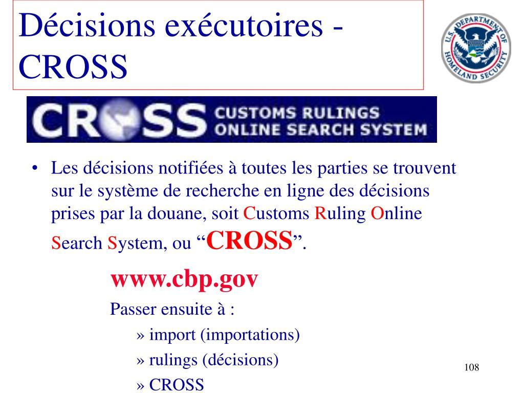 Décisions exécutoires - CROSS