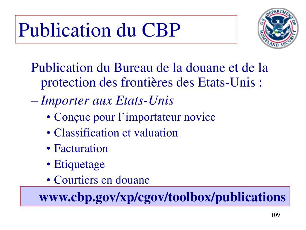 Publication du CBP