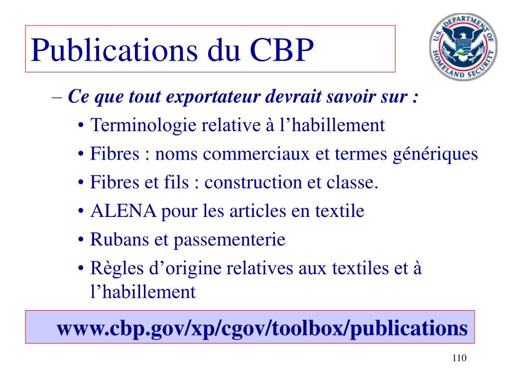 Publications du CBP