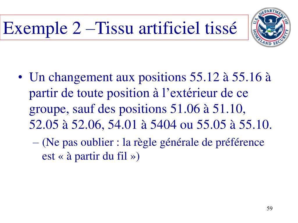 Exemple 2 –Tissu artificiel tissé
