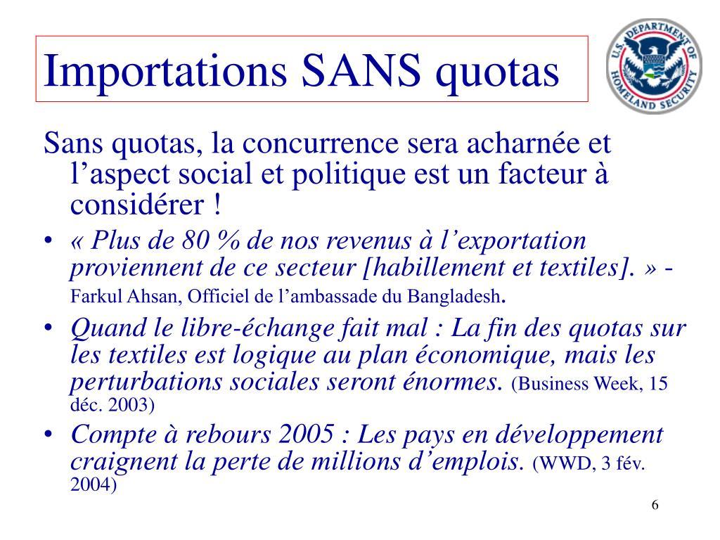 Importations SANS quotas