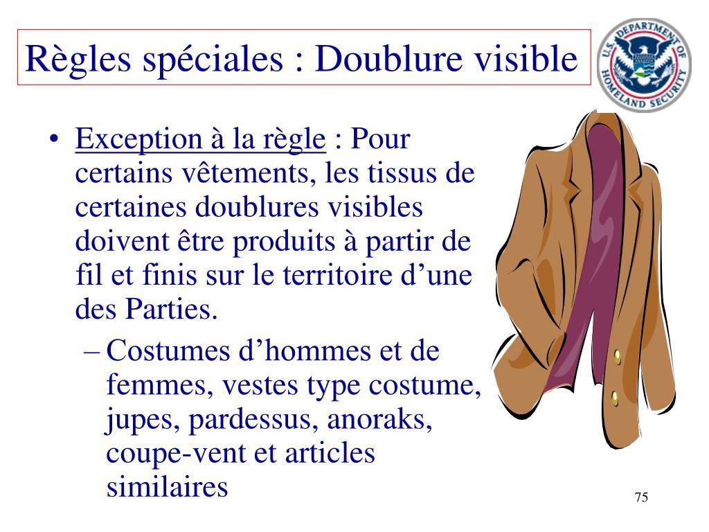 Règles spéciales : Doublure visible