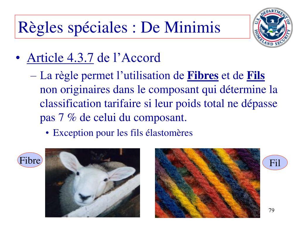 Règles spéciales : De Minimis
