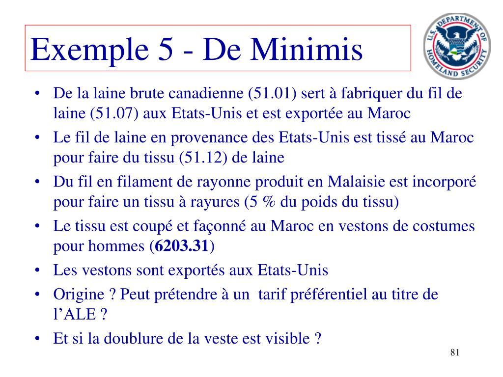 Exemple 5 - De Minimis