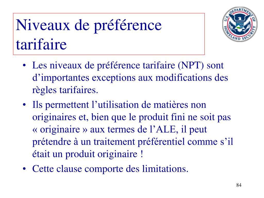 Niveaux de préférence tarifaire