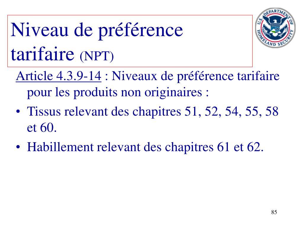 Niveau de préférence tarifaire
