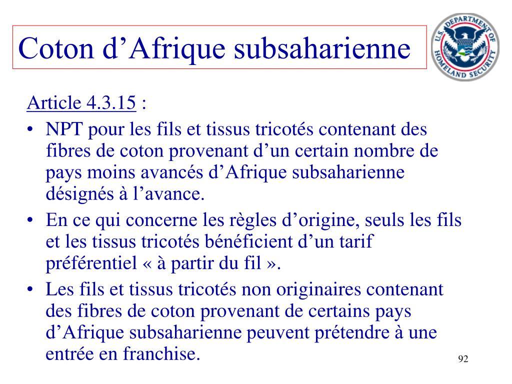 Coton d'Afrique subsaharienne